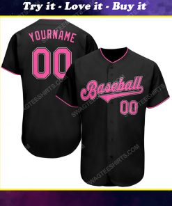 Custom team name black pink-white baseball jersey