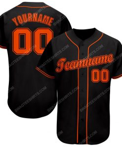 Custom team name black strip orange full printed baseball jersey 1 - Copy (2)