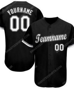 Custom team name black white-gray baseball jersey 1 - Copy (2)