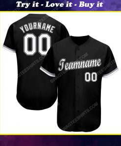 Custom team name black white-gray baseball jersey