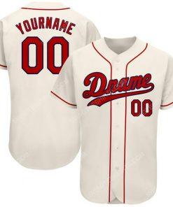 Custom team name cream strip red-navy full printed baseball jersey 1