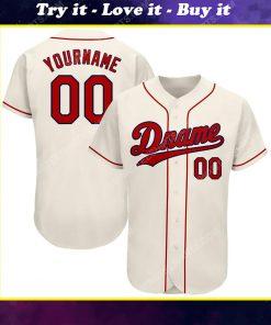 Custom team name cream strip red-navy full printed baseball jersey