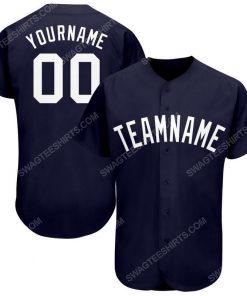 Custom team name navy blue white full printed baseball jersey 1