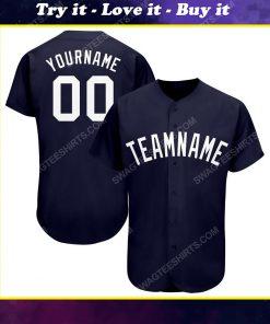 Custom team name navy blue white full printed baseball jersey
