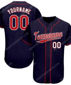 Custom team name navy red-white baseball jersey 1