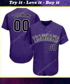 Custom team name purple black-white baseball jersey