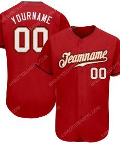 Custom team name red white-black full printed baseball jersey 1