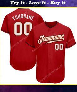 Custom team name red white-black full printed baseball jersey