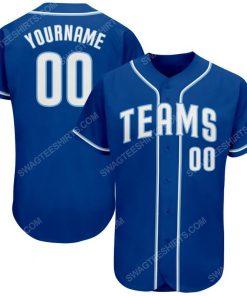 Custom team name royal strip white-light blue full printed baseball jersey 1