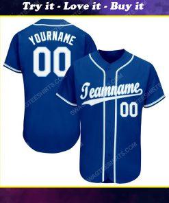 Custom team name royal white-light blue baseball jersey