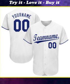 Custom team name white royal full printed baseball jersey
