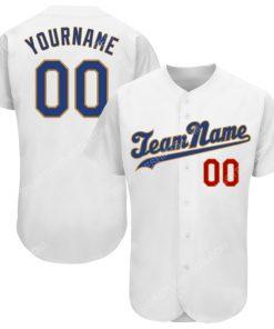 Custom team name white royal-old gold full printed baseball jersey 1