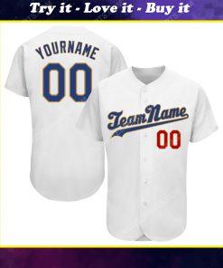 Custom team name white royal-old gold full printed baseball jersey