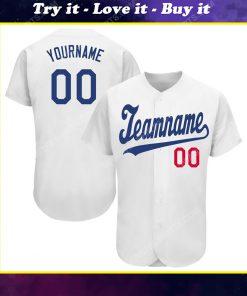 Custom team name white royal-red baseball jersey