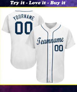 Custom team name white strip navy full printed baseball jersey