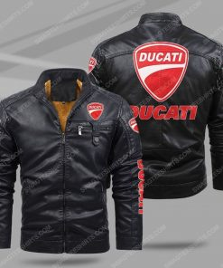 Ducati motorcycles all over print fleece leather jacket - black 1 - Copy