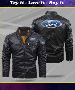 Ford car all over print fleece leather jacket