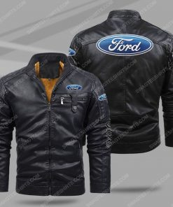 Ford car all over print fleece leather jacket - black 1 - Copy