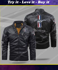 Ford mustang all over print fleece leather jacket