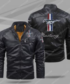 Ford mustang all over print fleece leather jacket - black 1 - Copy