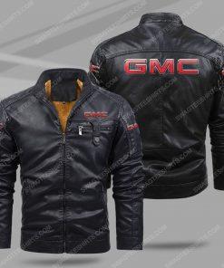 GMC car all over print fleece leather jacket - black 1 - Copy