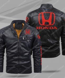 Honda car all over print fleece leather jacket - black 1 - Copy