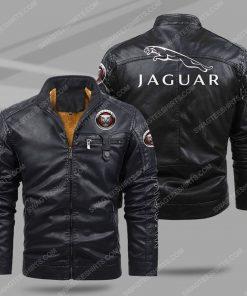Jaguar car all over print fleece leather jacket - black 1 - Copy