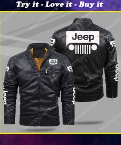 Jeep car all over print fleece leather jacket