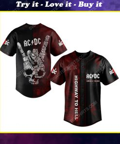 Custom acdc highway to hell rock band all over print baseball jersey
