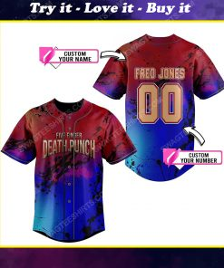 Custom colorful five finger death punch rock band all over print baseball jersey
