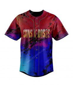 Custom colorful guns n roses rock band all over print baseball jersey 2 - Copy