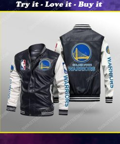 Golden state warriors all over print leather bomber jacket