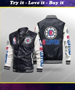 Los angeles clippers all over print leather bomber jacket