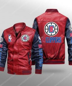 Los angeles clippers all over print leather bomber jacket - black
