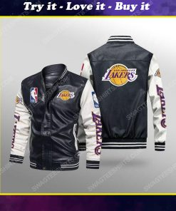 Los angeles lakers all over print leather bomber jacket