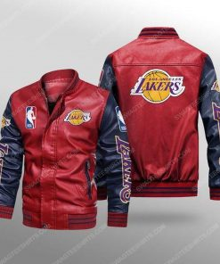 Los angeles lakers all over print leather bomber jacket - black