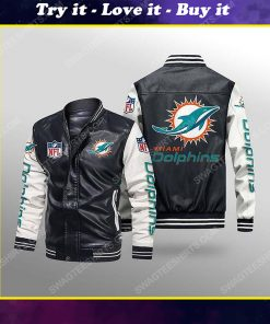Miami dolphins all over print leather bomber jacket