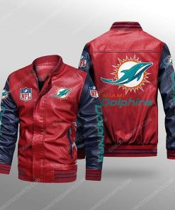 Miami dolphins all over print leather bomber jacket - black