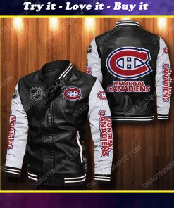 Montreal canadiens all over print leather bomber jacket