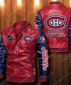Montreal canadiens all over print leather bomber jacket - black