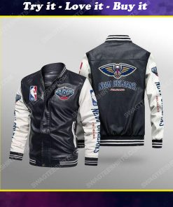 New orleans pelicans all over print leather bomber jacket