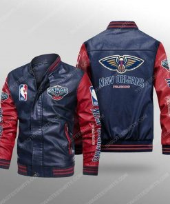 New orleans pelicans all over print leather bomber jacket - red