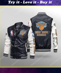 New york knicks all over print leather bomber jacket