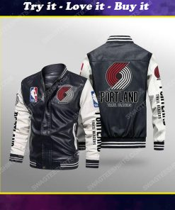 Portland trail blazers all over print leather bomber jacket