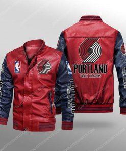 Portland trail blazers all over print leather bomber jacket - black