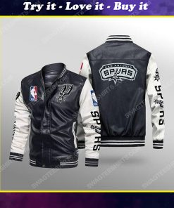 San antonio spurs all over print leather bomber jacket