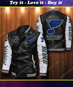St louis blues all over print leather bomber jacket
