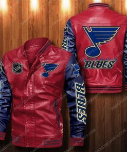 St louis blues all over print leather bomber jacket - navy 1
