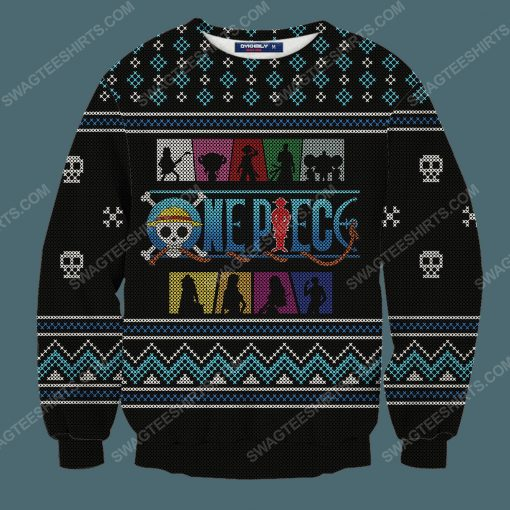 Straw hat pirates silhouette pirates for christmas time ugly christmas sweater 3