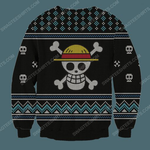 Straw hat pirates silhouette pirates for christmas time ugly christmas sweater 4